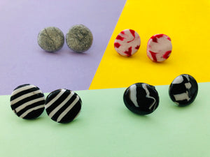 Polymer Clay Earrings (Medium Circle Stud)