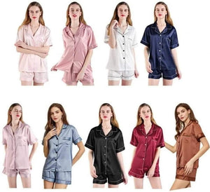 SHORT SLEEVE SATIN SHORT SET [Pre-order]