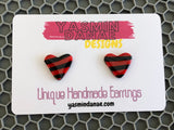 ELIZA Stripe ruby/black Earrings (Medium Heart Stud)