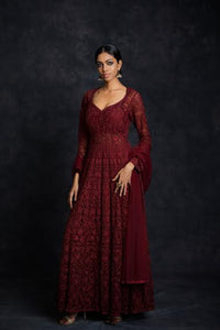 Oxblood Anarkali Gown