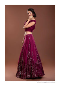 Wine Mirror Work Lehenga Set