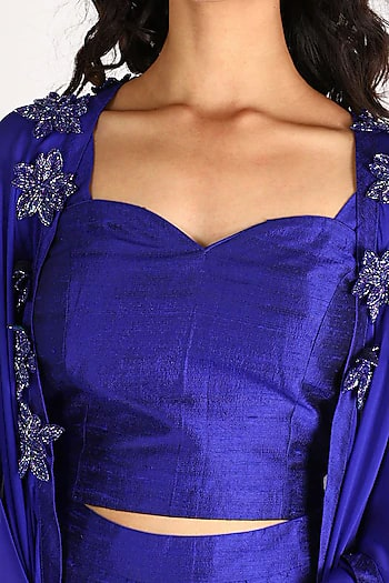 Cobalt Blue Embroidered Cape Set