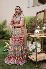 Load image into Gallery viewer, Multi coloured Floral embroidered Lehenga Set