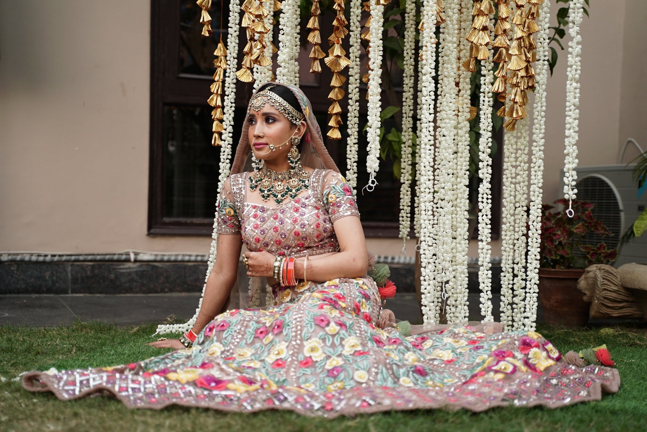 Multi coloured Floral embroidered Lehenga Set
