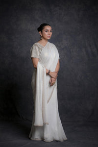 Ivory Beaded Saree
