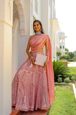 Load image into Gallery viewer, Pink Mirror Work Lehenga set