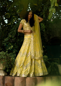 Yellow Mirror work Lehenga set