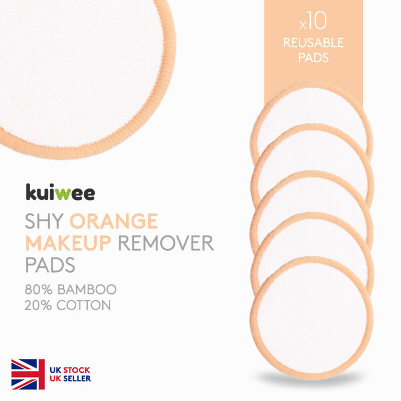 Orange Bamboo Cotton Makeup Remover Pads Washable (10)