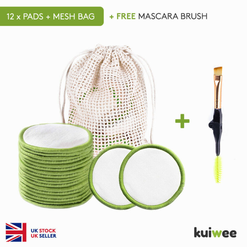 Green Bamboo Makeup Remover Cotton Pads, Mesh Bag & Mascara Brush (12)
