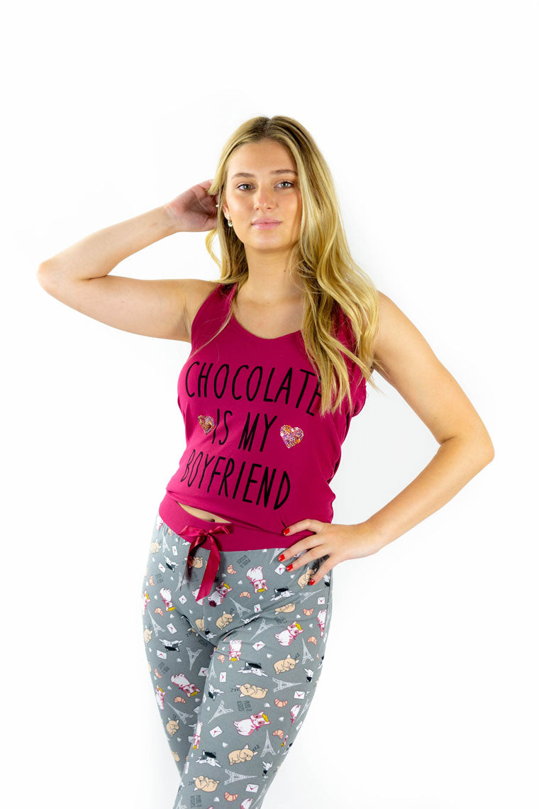 """Chocolate Is My Boyfriend"" Pajama Set"