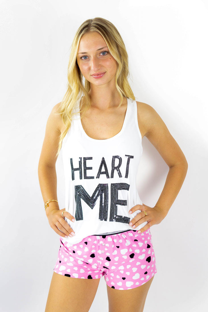 Heart Me Short Pajama set in pink