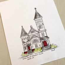 Load image into Gallery viewer, Personalized Gallery Wall Portrait, Senoia United Methodist Church, vintage church Senoia, Georgia, Hand Drawn Watercolor Art Original illus
