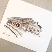 Load image into Gallery viewer, Personalized Home Gallery Wall Art Print, Historic Train Depot, Carrollton, Georgia, University of West Georgia Art, Original Watercolor and