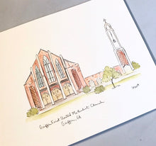 Load image into Gallery viewer, Griffin First United Methodist Church, Griffin, Georgia Illustration Georgia drawing custom artwork custom watercolor  8x10 print