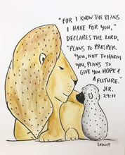 Load image into Gallery viewer, Personalized Nursery wall art, Lion and lamb, Jeremiah 29:11 For I know the Plans art print 8x10 on archival fine art paper