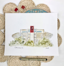 Load image into Gallery viewer, South Carolina Williams Brice Stadium, watercolor art stadium illustration, College football, Graduation Gift, Archival Quality 8x10 print