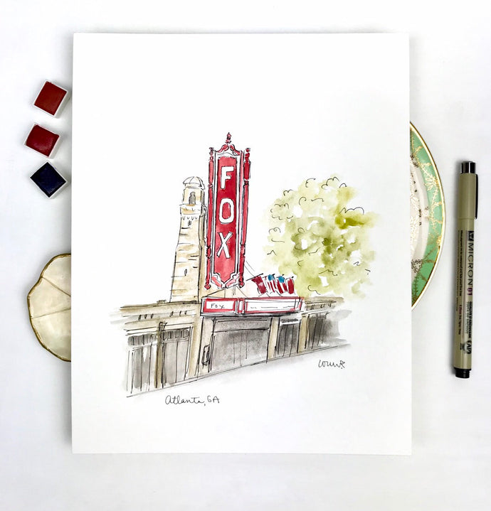 The Fox Theater Atlanta Illustration Atlanta Georgia Fox Theater The Fox Atlanta watercolor and ink illustration art painting, 8x10 print