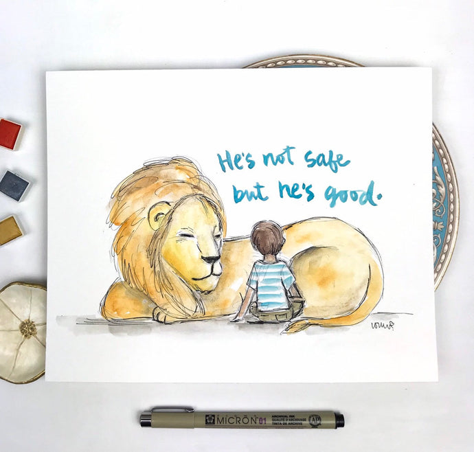 Personalized Nursery Wall Art, Aslan Lion, CS Lewis Quote, He is not safe, but he's good, Narnia quote print, lion and boy, Baby Gift