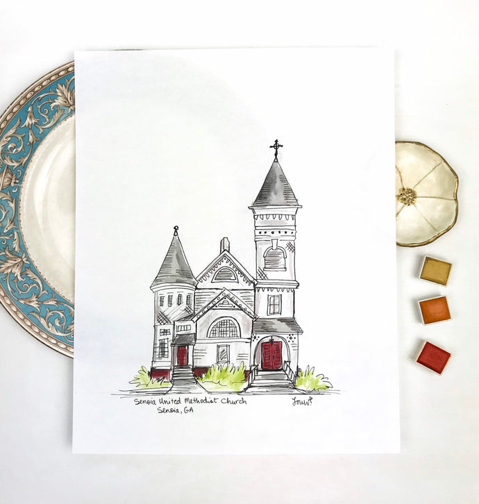Personalized Gallery Wall Portrait, Senoia United Methodist Church, vintage church Senoia, Georgia, Hand Drawn Watercolor Art Original illus