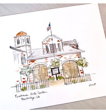 Load image into Gallery viewer, Personalized Gallery Wall Set, Southern Town, Watercolor Artwork Historic Firehouse Arts Center, Bainbridge, Georgia, Small Town illustratio