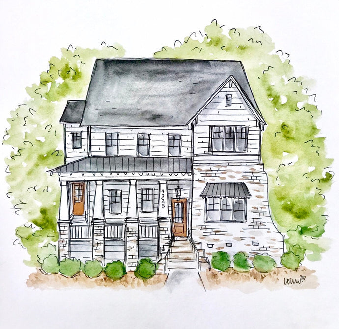 Custom House Portrait. Realtor Closing Gift. Housewarming Gift. New Home Gift. Watercolor Home Portrait. Watercolor Hand drawn Illustration