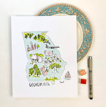 Load image into Gallery viewer, Georgia State Map, Personalized Georgia Illustrated Features Map Georgia state shape watercolor ink illustration Archival Quality 8x10 print