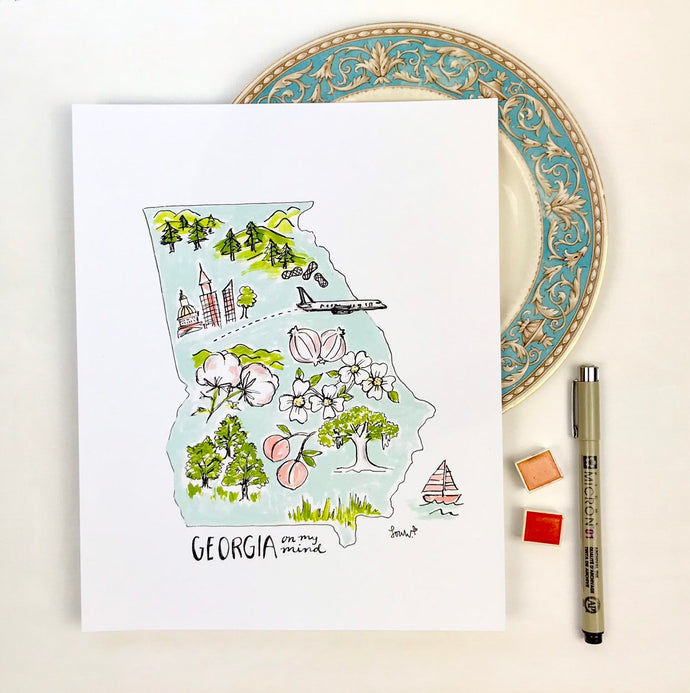 Georgia State Map, Personalized Georgia Illustrated Features Map Georgia state shape watercolor ink illustration Archival Quality 8x10 print