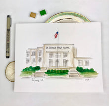 Load image into Gallery viewer, Custom Gallery Wall, High School Graduation Gift, LaGrange High School, Georgia, Watercolor and Ink Unique Small Town Gift,