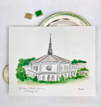 Load image into Gallery viewer, CustomGallery Wall Art, Church Watercolor and Ink Portrait LaGrange, Catholic Church, Georgia Artwork