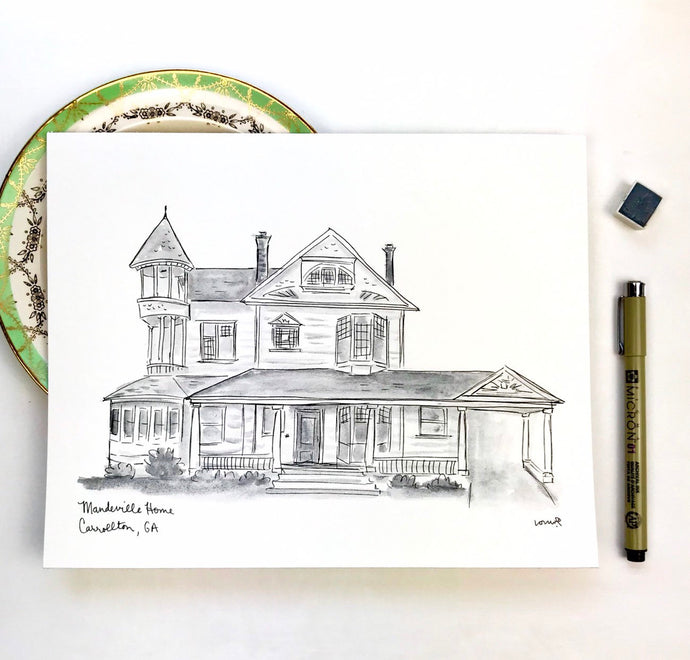 Custom Monochrome Home Portrait, black and white grayscale watercolor 8x10 original