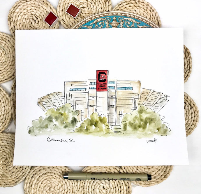 South Carolina Williams Brice Stadium, watercolor art stadium illustration, College football, Graduation Gift, Archival Quality 8x10 print