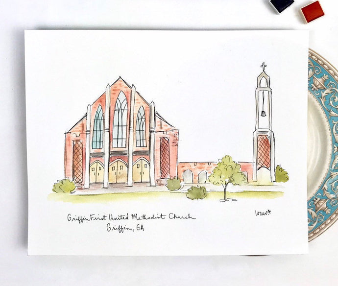 Griffin First United Methodist Church, Griffin, Georgia Illustration Georgia drawing custom artwork custom watercolor  8x10 print