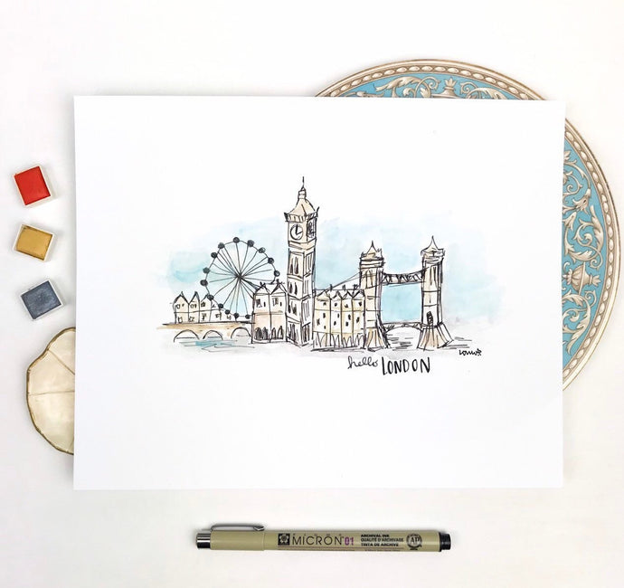 London Cityscape Print, London Watercolor Art, London Gallery Wall Art, Big Ben, London Bridge, Great Britain, Archival Quality 8x10 print