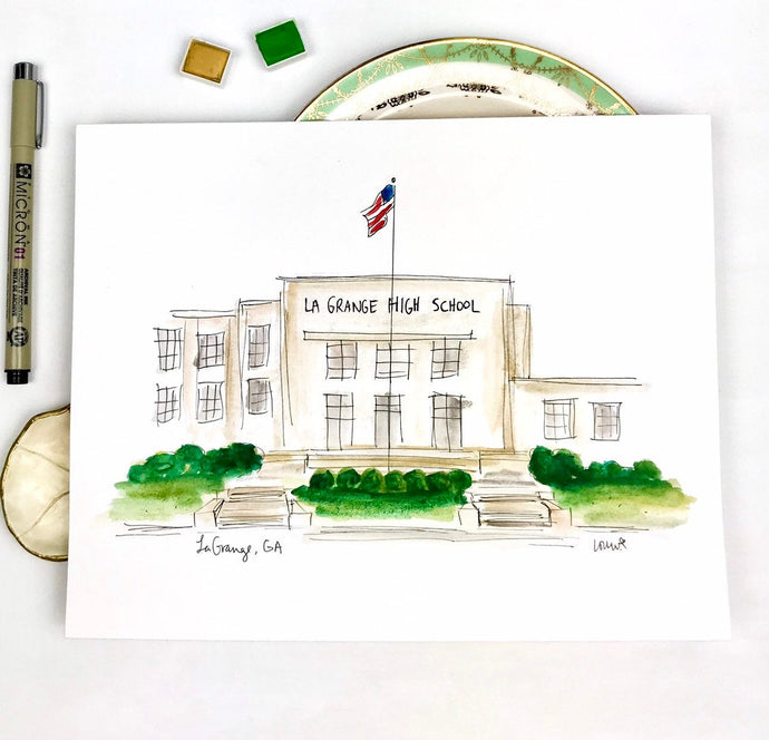 Custom Gallery Wall, High School Graduation Gift, LaGrange High School, Georgia, Watercolor and Ink Unique Small Town Gift,