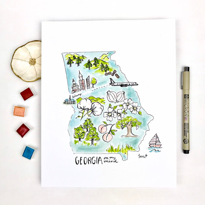 State Art Print, Personalized State Features, Favorite Town, Moving Gift, 8x10 print Georgia