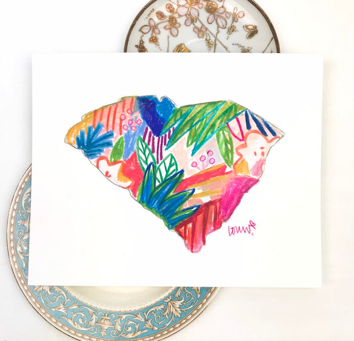 South Carolina print, Bright colors, Rainbow colorful watercolor pencil original art, personalized gallery wall, Archival Quality 8x10 print