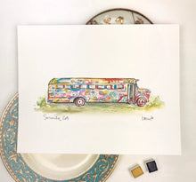 Load image into Gallery viewer, Custom Gallery Wall Art, Serenbe Life, Hippie School Bus, Watercolor and Ink, Peace, Love, Serenbe Painted Bus