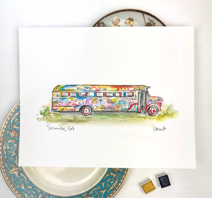 Custom Gallery Wall Art, Serenbe Life, Hippie School Bus, Watercolor and Ink, Peace, Love, Serenbe Painted Bus