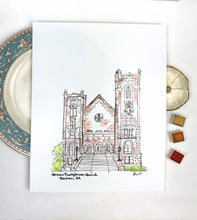 Load image into Gallery viewer, Personalized Gallery Wall Print,Newnan Presbyterian Church, Historic Downtown Newnan, Southern Landmark, Georgia, Archival Quality 8x10 prin