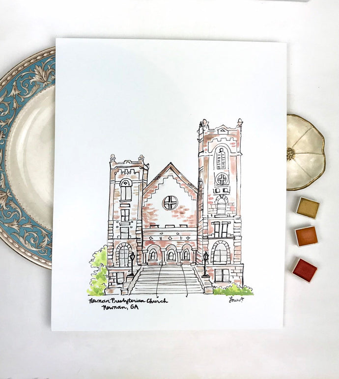 Personalized Gallery Wall Print,Newnan Presbyterian Church, Historic Downtown Newnan, Southern Landmark, Georgia, Archival Quality 8x10 prin