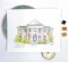 Load image into Gallery viewer, UWG Sorority print, Greek Life Watercolor Portrait Archival Quality 8x10