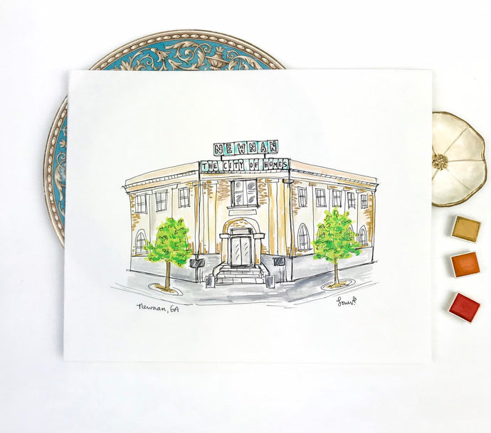 Personalized gallery wall, The Carnegie Library, Historic Downtown Square, Southern Landmark, Newnan, Georgia, Archival Quality 8x10 print