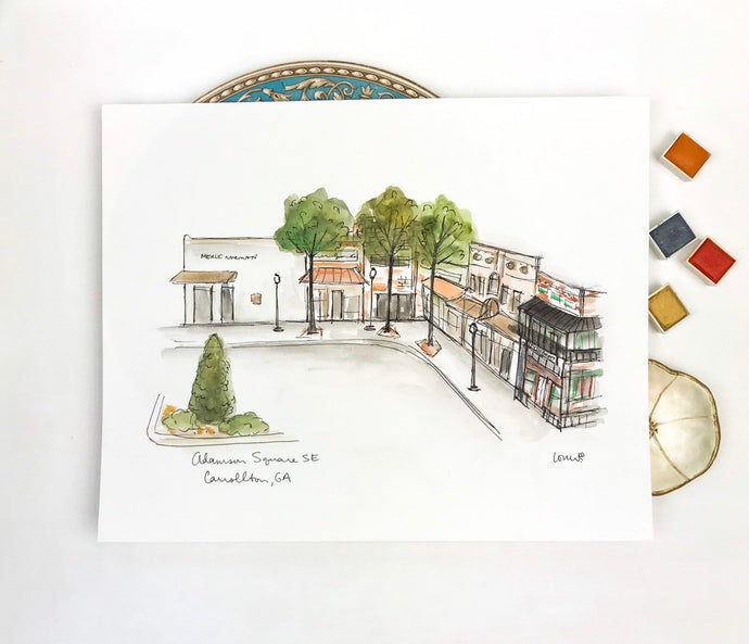 Custom Wall Art, Carrollton Adamson Square SE, Georgia, Watercolor Original Art, Southern Town, Civil War Era, Archival Quality 8x10 print