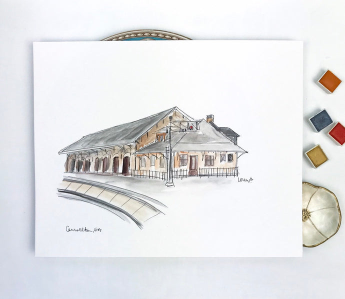 Personalized Home Gallery Wall Art Print, Historic Train Depot, Carrollton, Georgia, University of West Georgia Art, Original Watercolor and