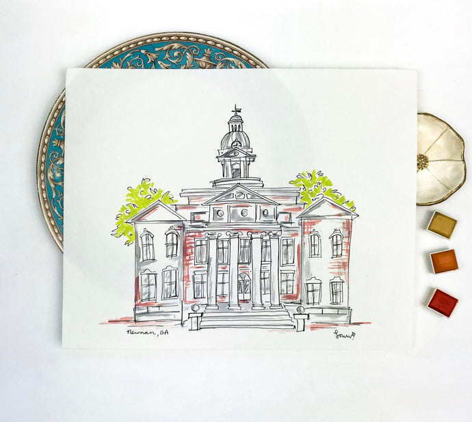 Gallery Wall Art, Personalized Coweta County Courthouse, Historic Square Downtown Newnan, Southern Landmark, Georgia, Archival Quality 8x10