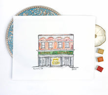 Load image into Gallery viewer, Gallery Wall PrintNewnan Georgia Historic Goldens Restaurant Town Square Southern Landmark watercolor and ink 8x10 print Atlanta Georgia