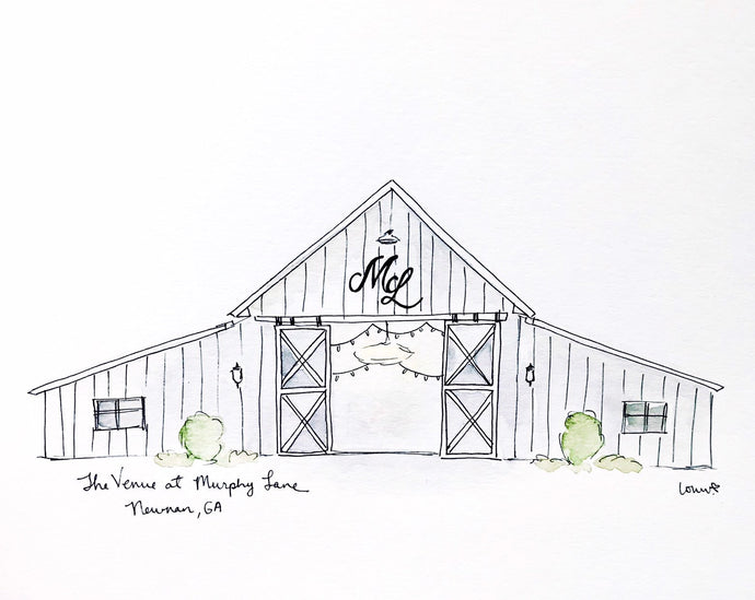Personalized Gallery Wall, Murphy Lane Wedding Venue, farmhouse, watercolor ink illustration print, Newnan, Georgia, Archival Quality 8x10 p