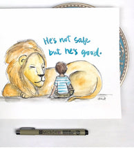 Load image into Gallery viewer, Personalized Nursery Wall Art, Aslan Lion, CS Lewis Quote, He is not safe, but he's good, Narnia quote print, lion and boy, Baby Gift