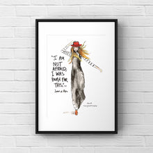 Load image into Gallery viewer, Gallery Wall Fashion Illustration, Inspirational GIRL Gift, Born for this Joan of Arc quote, 8x10 print