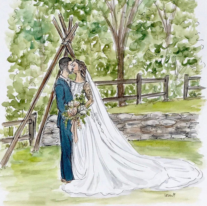 Custom wedding portrait, original watercolor and ink on archival quality watercolor paper, 8x10 illustration of bride, groom, or both